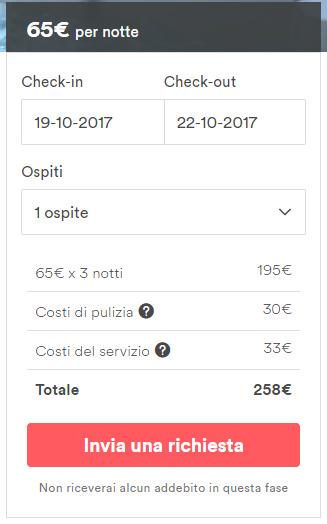 invia richiesta prenotazione airbnb